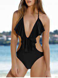 Alluring Plunging Neck Flouncing Women's One-Piece Swimwear