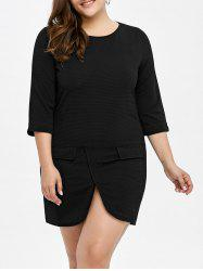 Plus Size Faux Pockets Overlap T-Shirt