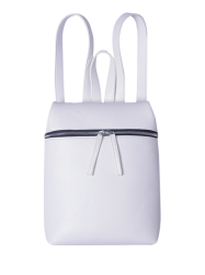 Textured PU Leather Zip Backpack - WHITE
