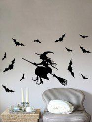 Waterproof Happy Halloween Witch Bats Vinyl Wall Stickers Custom