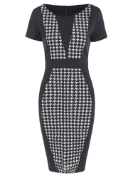 Houndstooth Pencil Dress with Sleeves - BLACK 2XL