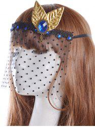 Faux Sapphire Leaf Hair Accessory Party Mask -
