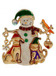 Christmas Snowman Enamel Brooch - GOLDEN