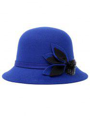 Leaf Fuzzy Ball Faux Wool Fedora Hat - BLUE