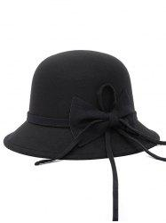 Bowknot Long Band Felt Fedora Hat - BLACK