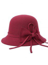 Bowknot Long Band Felt Fedora Hat - WINE RED