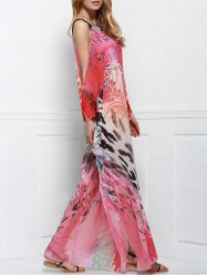 Cutout Colorful Long Chiffon Cover-Up Dress