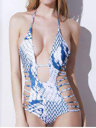 Snakeskin Print Strappy One Piece Swimwear