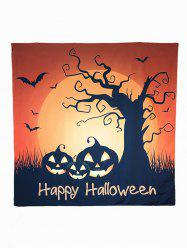 Motif Halloween Carnaval Sunset Pumpkin Bat Big Square Scarf - Brun