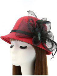 Mesh Yarn Flower Feather Fedora Hat - RED