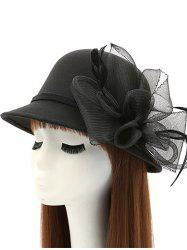 Mesh Yarn Flower Feather Fedora Hat - BLACK