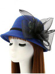 Mesh Yarn Flower Feather Fedora Hat