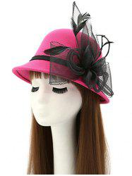 Mesh Yarn Flower Feather Fedora Hat - ROSE RED
