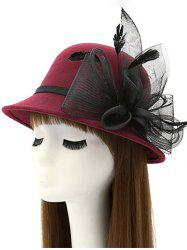 Mesh Yarn Flower Feather Fedora Hat - WINE RED
