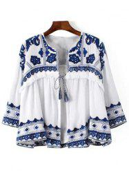 Casual Lace-Up Blue and White Porcelain Pattern Women's Blouse
