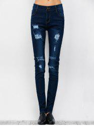 Low Rise Ripped Skinny Jeans - DEEP BLUE M