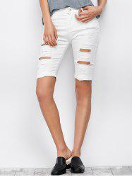 Ripped Bermuda Denim Long Shorts - WHITE