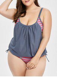 Plus Size Padded Striped Tankini Swimsuit