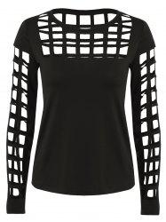 Long Sleeve Ripped Cutout Tee - BLACK L