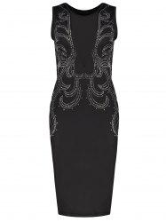 Tight Formal Low Cut Mesh Sequined Bodycon Dress -