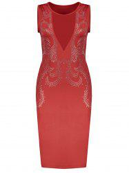Low Cut Mesh Sequined Bodycon Dress