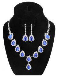 Teardrop Fake Crystal Wedding Jewelry Set - BLUE
