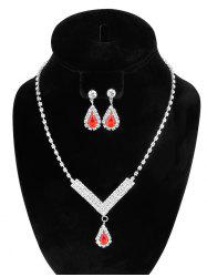 Water Drop Rhinestone Wedding Jewelry Set - RED