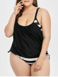 Plus Size Stripe Print Tankini Swimsuit
