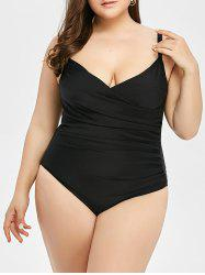 Plus Size Ruched Backless Swimwear