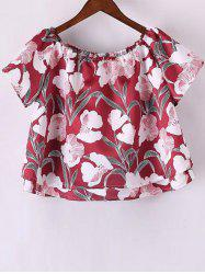 Stylish Short Sleeve Off The Shoulder Floral Print Women's T-Shirt - RED M