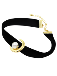 Faux Pearl Moon Choker Necklace -