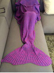 Fashion Comfortable Falbala Decor Knitted Mermaid Design Throw Blanket - PURPLE