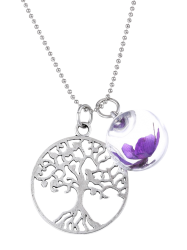 Glass Dry Flower Life Tree Necklace -