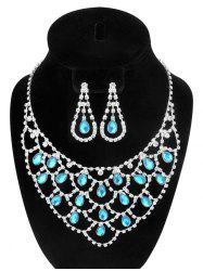 Hollow Out Teardrop Rhinestone Jewelry Set