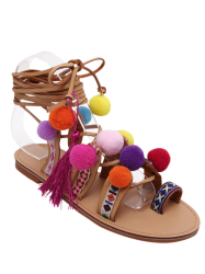 Rome Style Cross Straps and Pompon Design Sandals For Women