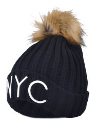 NYC Embroider Knit Pom Ball Skullies Beanie -
