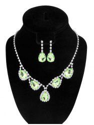 Water Drop Fake Crystal Wedding Jewelry Set - GREEN