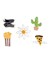 Letter Floral Cheese Cactus Brooch Set -