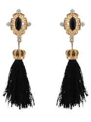 Rhinestone Crown Tassel Earrings -