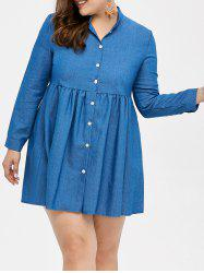 Plus Size Single Breasted Mini Denim Shirt Dress