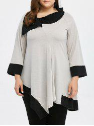 Plus Size Asymmetric Long Sleeve Tunic Top