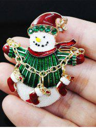 Christmas Snowman Gifts Enamel Brooch - GREEN