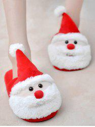 Cartoon Flocking Christmas Slippers - RED