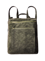 Leisure Suede Zips Backpack - ARMY GREEN