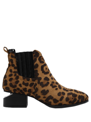 Stitching Leopard Print Splicing Ankle Boots