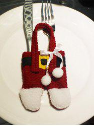 Christmas Party Table Decor Santa Pants Tableware Holder Bag - RED WITH WHITE