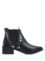 Metal Chunky Heel Pointed Toe Ankle Boots -