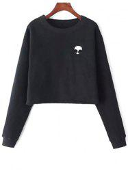Alien Embroidery Cropped Sweatshirt - BLACK ONE SIZE(FIT SIZE XS TO M)