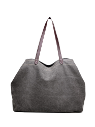 Casual Canvas Stitching Shoulder Bag - GRAY