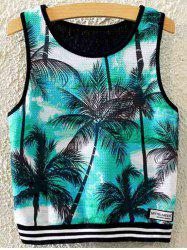 Stylish Round Neck Coconut Grove Print Women's Tank Top